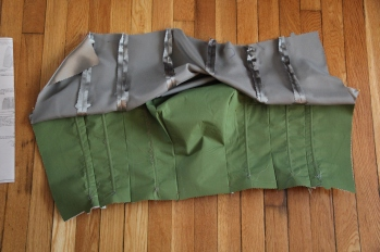 Next, I attached the underlining to the front of the bodice